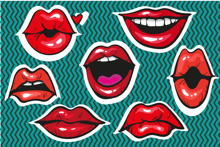 Pop art fashion patch badges or fancy stickers for prints, banners, advertisement moody female lips
