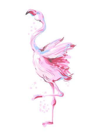 Beautiful dancing pink flamingo smiling isolated on white background with pink splash 版權商用圖片 - 104695633