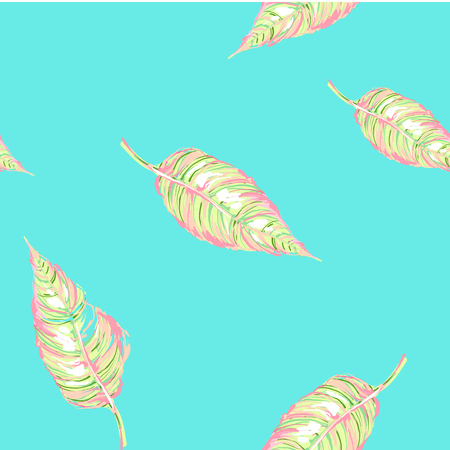 Exotic leaves and flowers seamless ornament. Seamless tropical pattern. Vector background with plants in light pastel palette Illustration