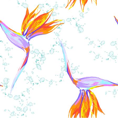 Strelitzia reginae flower bird-of-paradise, crane flower seamless pattern with splash on white.