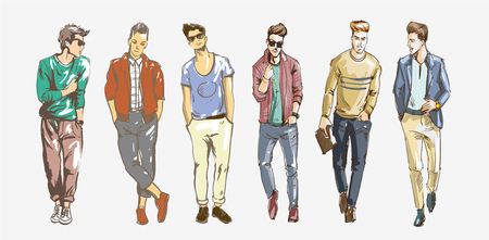 Fashion man. Collection of fashionable men s sketches on a white background. Men casual fashion illustration.