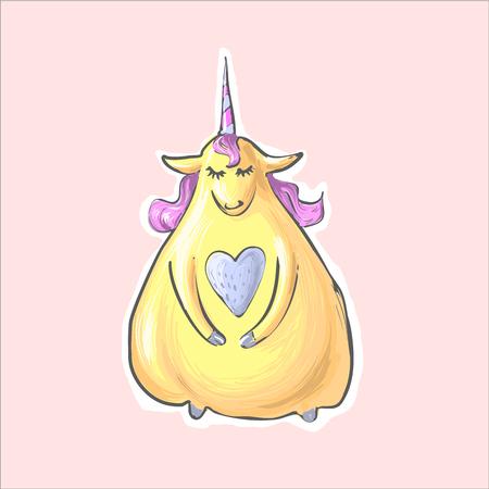 La licorne grasse drôle mignonne jaune magique timide avec le coeur. Alikorn. Pégase. Caractère des enfants.