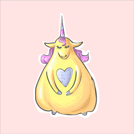 The magic yellow shy cute funny fat unicorn with heart . Alikorn. Pegasus. Children s character.