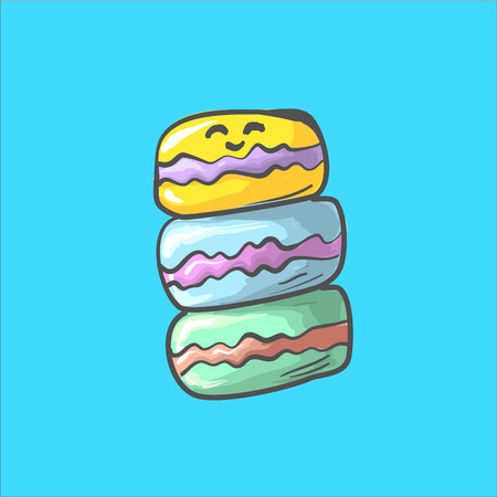 Stack of colorful macaron, macaroon almond cakes, sketch style vector illustration. Stack, pile of colorful almond macaron, macaroon biscuits, sweet and beautiful dessert