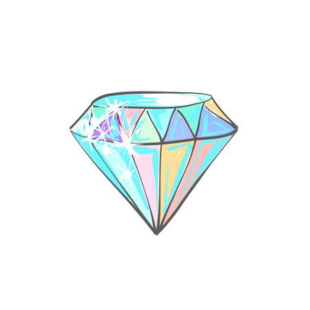 Vector cartoon sketch of diamond in unicorn colors.