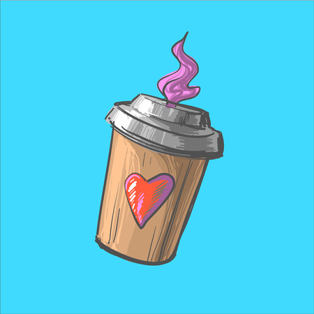 Coffee to go cup cartoon illustration. Hot invigorating drink. Decorative element for menu, advertising, flyer and poster design.