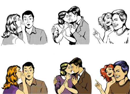 Three couples together whispering, hugging and pointing . Pop art retro comic style vector illustration in black and white and colored variations.