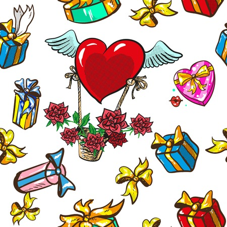 Seamless pattern design boxes with gifts and basket with winged heart and roses, pop art retro vector illustration. Holiday, birthday, Valentine day and Christmas.
