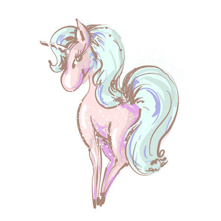 Beautiful cute girl unicorn with long lashes vector hand drawn illustration on white backgtound. Иллюстрация