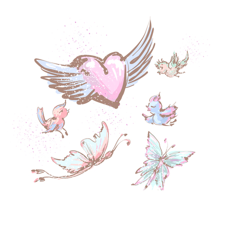 Collection of flying objects cute birds , butterflies and heart with wings isolated on white. Illustration