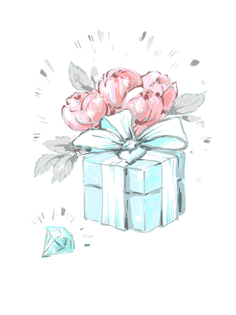 Fashionable peony flower box with diamond and bow. Fashion accessory illustration in trendy soft colors for beauty salon, shop, blog print. Isolated symbol on white background.