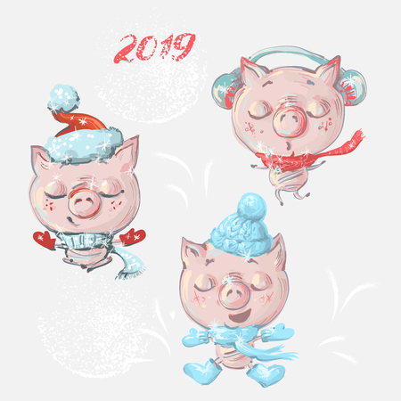 Vector set with funny cute cartoon pigs for New year and Christmas.