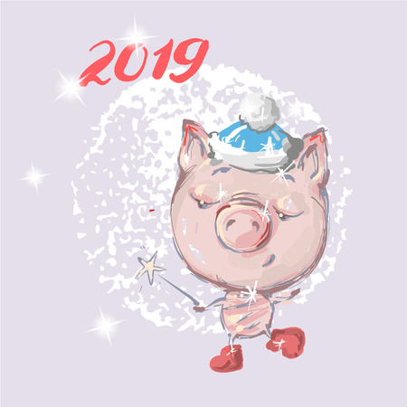 Hello 2019 Cute pig. New year animal symbol, Merry Christmas cartoon pet icon. Happy dancing piggy for girl t-shirt print, greeting card. Hand drawn vector illustration isolated