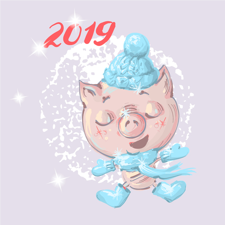 Cute little cartoon baby pig in winter clothes Christmas and new year illustration