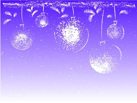 Decorative border made of grunge Christmas ball toys hanging on blue background.