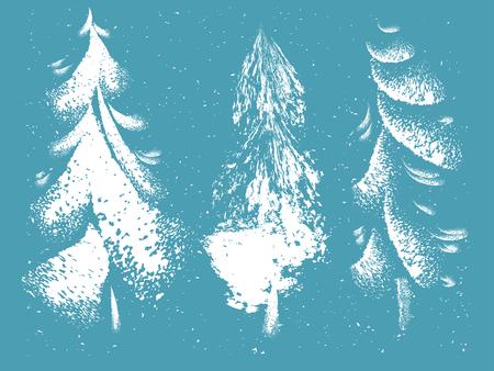 Hand drawn grunge Christmas trees set decorative style.