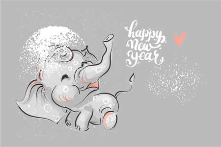 cute elephant with lettering Happy New Year.