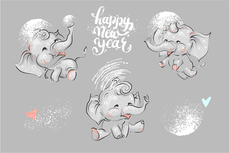 Cute and funny elephant set for winter Chrismas holidays and New Year lettering. Иллюстрация
