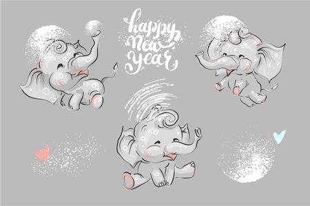 Cute and funny elephant set for winter Chrismas holidays and New Year lettering. Ilustração