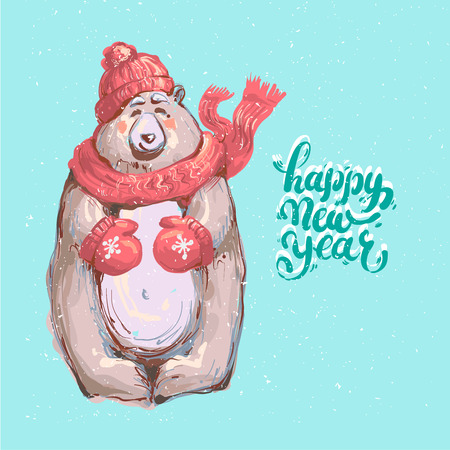 Cute winter bear cub with red scarf on a snowy background with lettering Happy New Year.