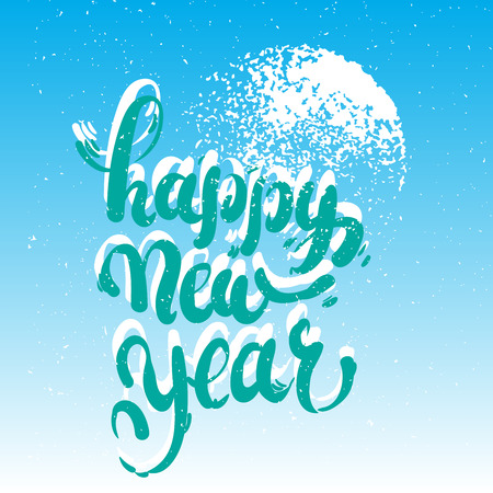 Happy New Year lettering on blue blurry vector background with sparkles. Greeting card design template with