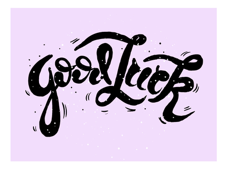 Good Luck lettering. Handwritten modern calligraphy, brush painted letters. Vector illustration. Template for greeting card, poster, logo, badge, icon banner tag