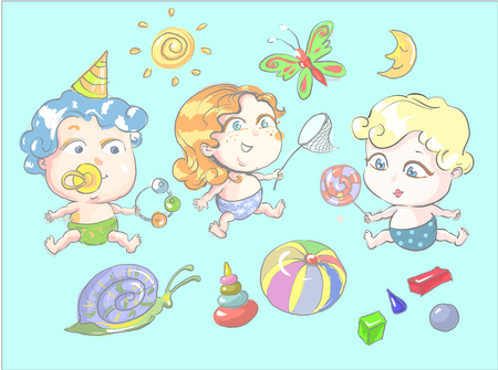 Children playing with toys, vector illustration
