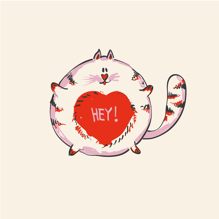 Funny cute round cat with word HEY on belly , fashion print or web vector design.