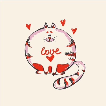 cute round cat with word Love on belly , print or web vector design.