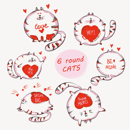 Hand drawn cats set with words. Cute doodle vector animals for prints , kid apparel, girlish design. Ilustração
