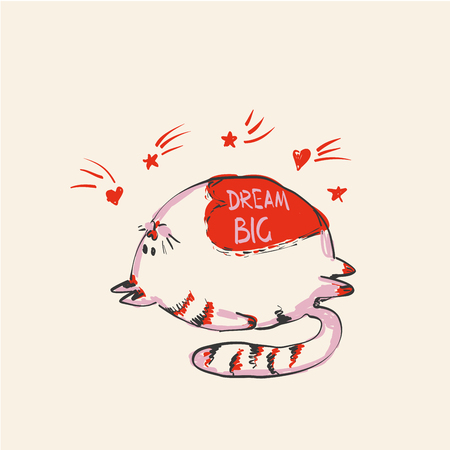 Funny cute round cat with word DREAM BIG on belly under falling stars , fashion print or web vector design. Ilustração