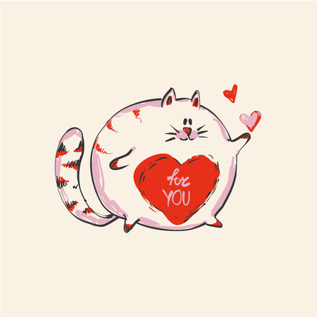 Funny cute round cat with word FOR YOU on belly , fashion print or web vector design.