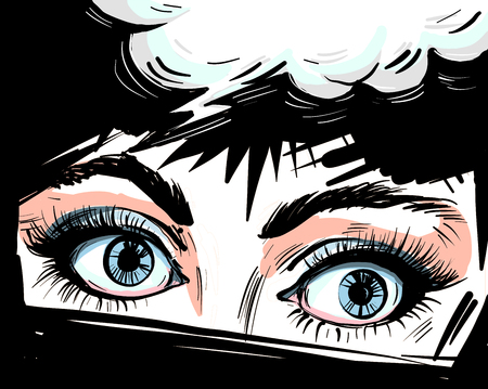 Woman eyes close up vector illustraton with speech bubble , surprised wow feminine pop art retro comic style face. Иллюстрация
