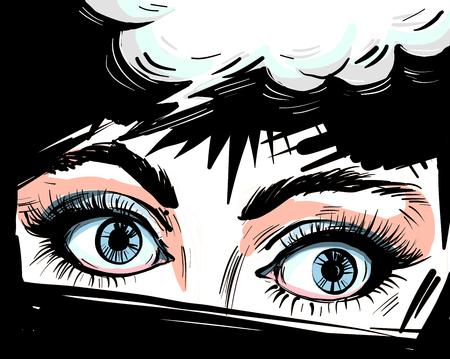 Woman eyes close up vector illustraton with speech bubble , surprised wow feminine pop art retro comic style face. Ilustração