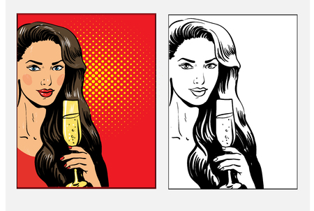 Beautiful woman with glass of champagne celebrating and toasting, pop art retro comic style vector illustration in two variations, colored and black and white line.
