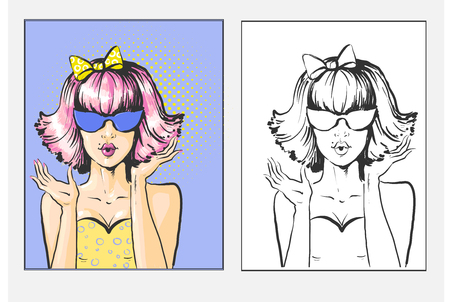 Woman with pink bob and sunglases surprised pop art retro comic book style illustration vector.