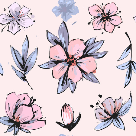 Seamless romantic floral pattern on a tender background.