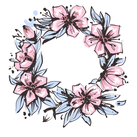 Wreath of flowers in hand drawn ink with white background. Ilustração