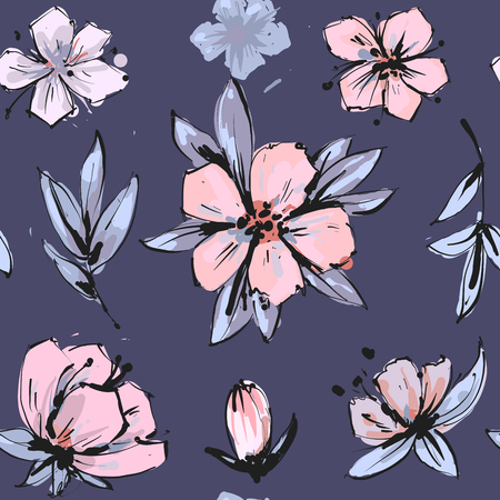 Seamless romantic floral pattern on a tender background