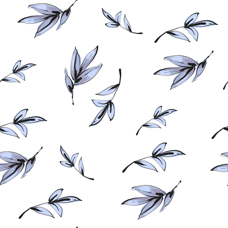 Bamboo leaves seamless pattern on white background. Vector Illustration
