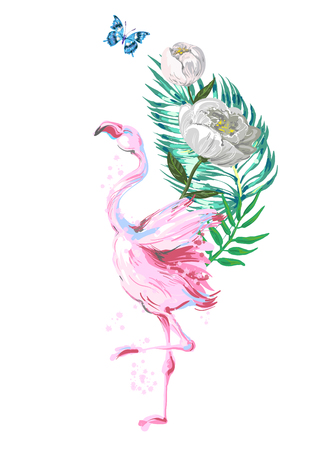 Beautiful pink flamingo composition with tropic leaves, flowers and butterfly isolated on white background
