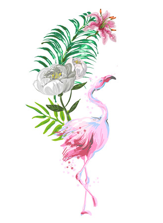 Beautiful pink flamingo composition with tropic leaves, flowers .