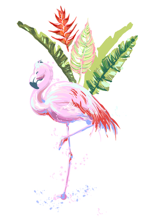 Beautiful pink flamingo composition with tropic leaves, flower of Heliconia. Ilustração