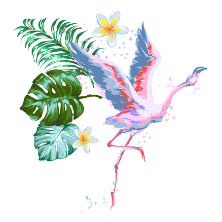 Beautiful flying pink flamingo composition with tropic leaves, flower of Plumeria.