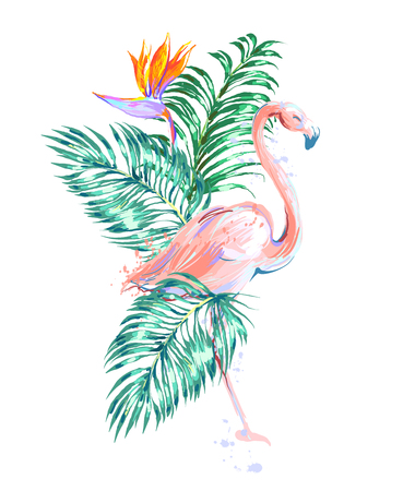 Beautiful pink flamingo composition with tropic leaves, flower Bird of Paradise
