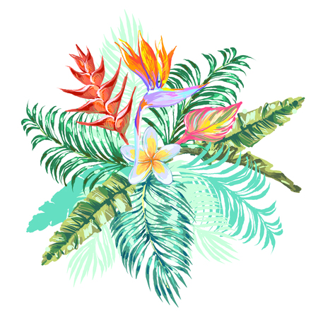 Bouquet with heliconia, plumeria, bird-of-paradise flower, tropical leaves on white background Иллюстрация