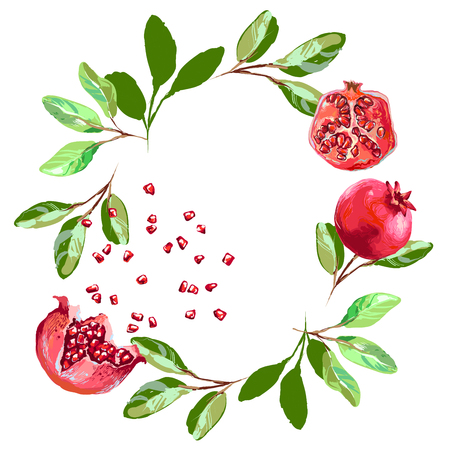 Vector round frame of watercolor pomegranate with seeds and leaves. Can be used as a greeting card for background, birthday, mother s day and so on Ilustração
