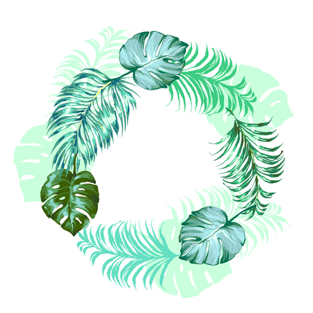 Trendy Tropical Leaves palm and monstera round frame Vector Design. Иллюстрация