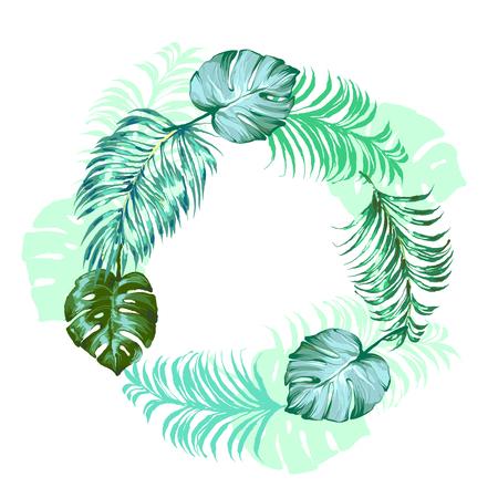Trendy Tropical Leaves palm and monstera round frame Vector Design. Ilustração