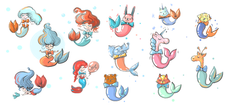 Mermaids girls and animals with fish tails vector illustration.